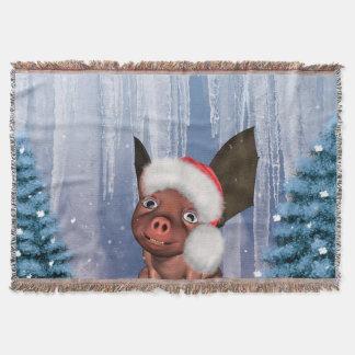Christmas, cute little piglet throw blanket