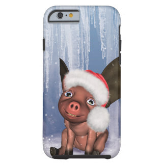 Christmas, cute little piglet tough iPhone 6 case