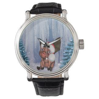 Christmas, cute little piglet watch