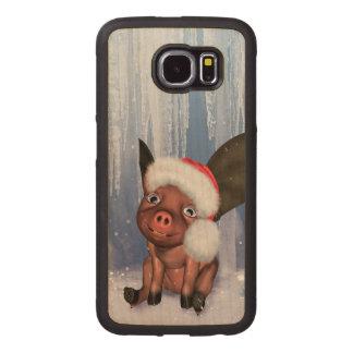 Christmas, cute little piglet wood phone case