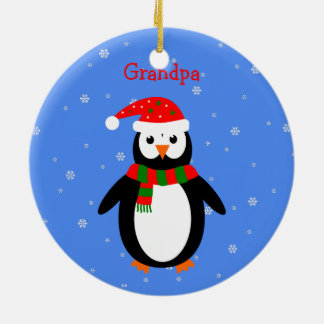 Christmas cute penguins add name date two-sided round ceramic ornament