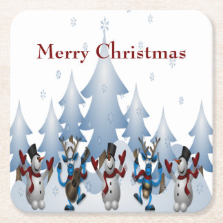 Christmas Cute Snowman and Reindeer Band Square Paper Coaster