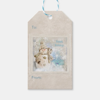 Christmas Cute Snowman with Snowflakes Pack Of Gift Tags