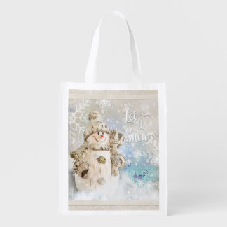 Christmas Cute Snowman with Snowflakes Reusable Grocery Bag