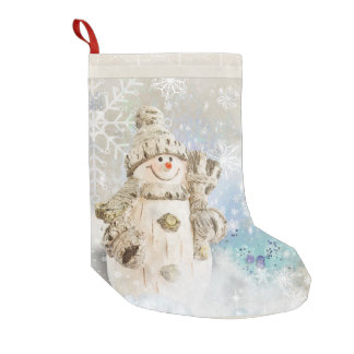 Christmas Cute Snowman with Snowflakes Small Christmas Stocking