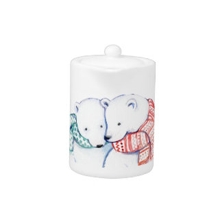 CHRISTMAS  CUTE TEA POT . BEARS WITH SCARVES