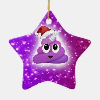 Christmas Cute Unicorn Poop Emoji Glow Ceramic Ornament