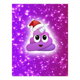 Christmas Cute Unicorn Poop Emoji Glow Letterhead