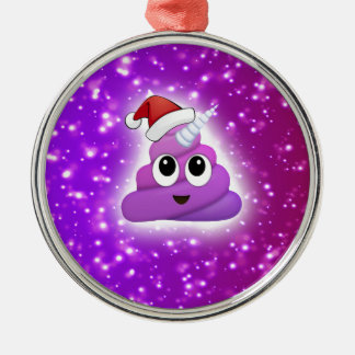 Christmas Cute Unicorn Poop Emoji Glow Metal Ornament