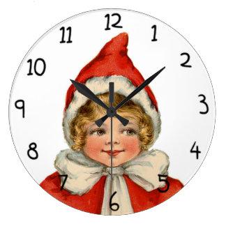 Christmas Cute Vintage Elf Girl Large Clock