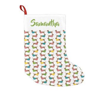 Christmas Dachshund Dog Pattern Personalized Small Christmas Stocking