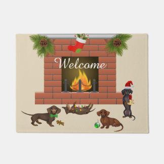 Christmas Dachshund Door Mat Welcome Mat
