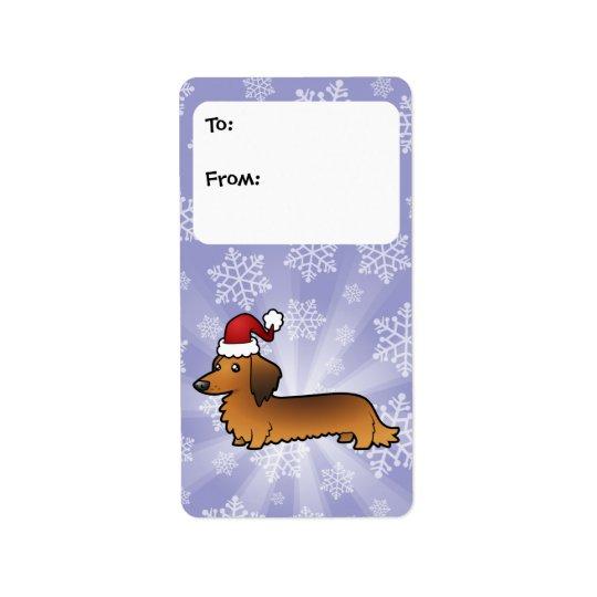 Christmas Dachshund Gift Tags (longhair)