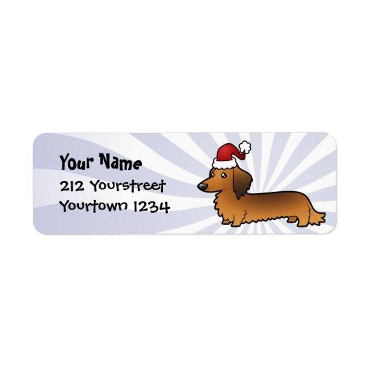 Christmas Dachshund (longhair) Return Address Label
