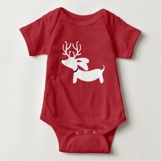 Christmas Dachshund Red One Piece Outfit for Baby Baby Bodysuit
