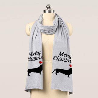 Christmas Dachshund & Santa Hat Merry Christmas Scarf