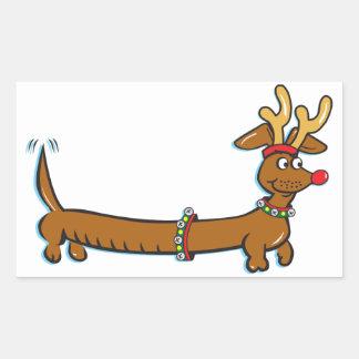Christmas Dachshund Rectangular Sticker