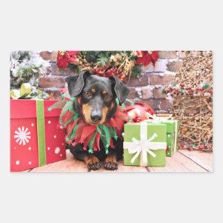Christmas - Dachshund - Tanner Rectangular Sticker