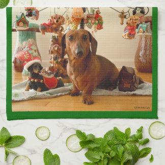 Christmas Dachshund (Ver. 1) Kitchen Towel