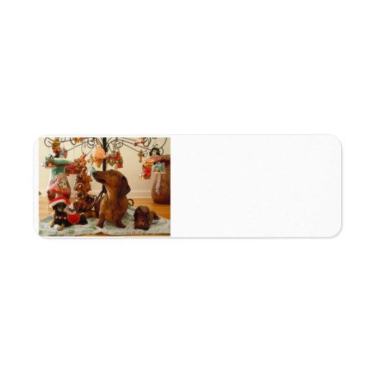 Christmas Dachshund (Version 2) Return Address Label
