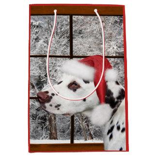 Christmas dalmatian medium gift bag