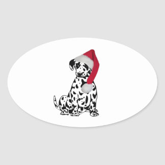 Christmas Dalmatian Oval Sticker