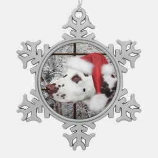 Christmas dalmatian snowflake pewter christmas ornament