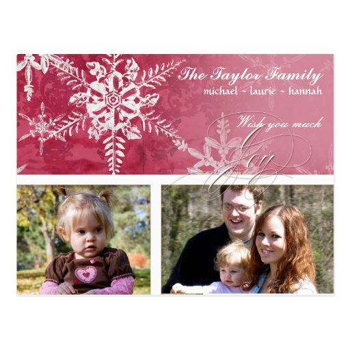 Christmas Damask Snowflake -  Hot Pink Card Post Cards