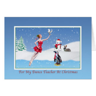 Christmas, Dance Teacher, Ballerina, Winter, Snow Card