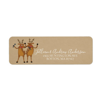 Christmas Dancing Reindeer Address Label