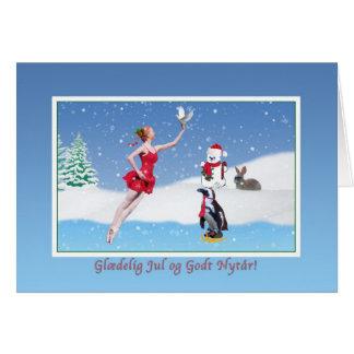 Christmas, Danish,  Glædelig Jul, Ballerina, Snow Card