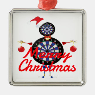 Christmas Darts Player Cartoon Metal Ornament