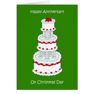 Christmas Day Wedding Anniversary, December 25th Card