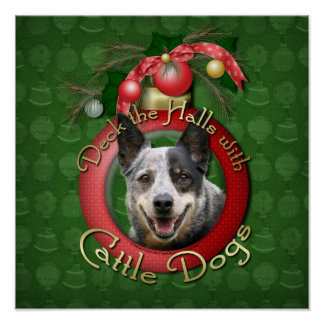 Christmas - Deck the Halls - Cattle Dogs Print