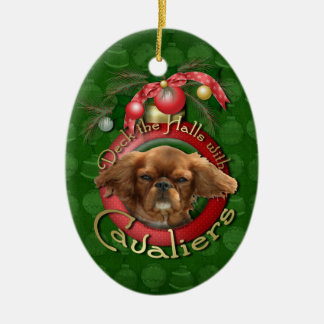 Christmas - Deck the Halls - Cavaliers - Ruby Ceramic Oval Ornament