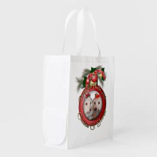 Christmas - Deck the Halls - Chablis & Shiraz Reusable Grocery Bag