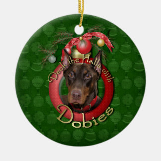 Christmas - Deck the Halls - Dobies - Rocky Ceramic Ornament