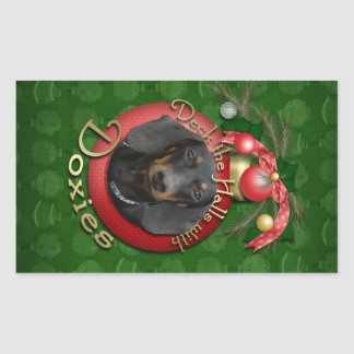 Christmas - Deck the Halls - Doxies Rectangular Stickers