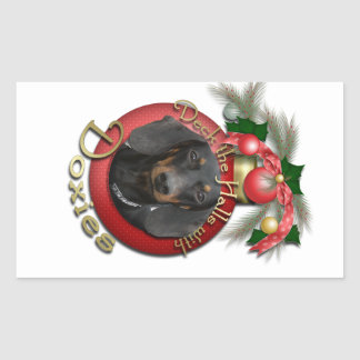 Christmas - Deck the Halls - Doxies Rectangle Stickers