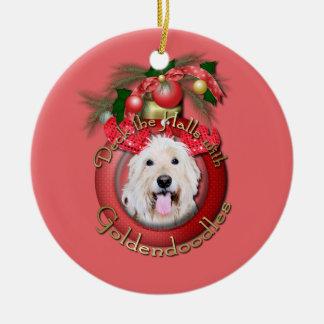 Christmas - Deck the Halls - GoldenDoodles - Daisy Ceramic Ornament
