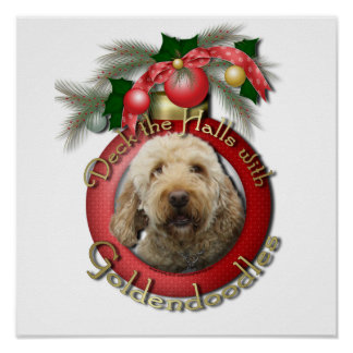 Christmas - Deck the Halls - Goldendoodles Poster