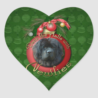 Christmas - Deck the Halls - Newfie Heart Sticker