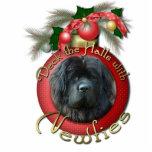 Christmas - Deck the Halls - Newfie Photo Sculpture Ornament