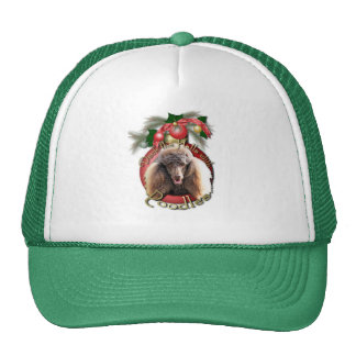 Christmas - Deck the Halls - Poodles - Chocolate Mesh Hats