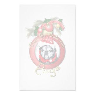 Christmas - Deck the Halls - Pugs - Angel Stationery