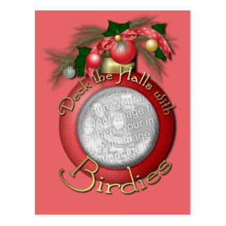 Christmas - Deck the Halls with Birdies Postcard