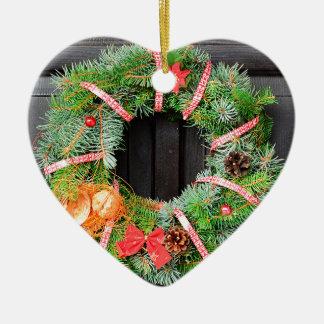 Christmas decoration ceramic heart ornament