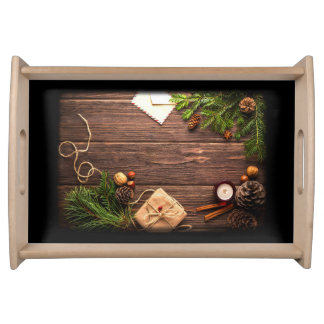Christmas Decoration with Barn Wood and Pine Serving Tray