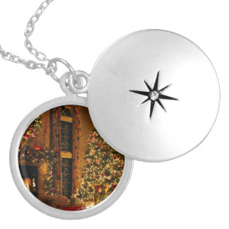 Christmas decorations - christmas tree silver plated necklace