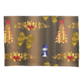 Christmas Decorations On Bronze Pillowcase